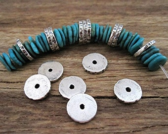 Sterling Silver Thin Textured Accent and Spacer Beads (set of 2)