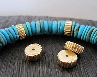 Artisan Striped Gold Bronze Spacer Bead and Slider (ONE Bead)