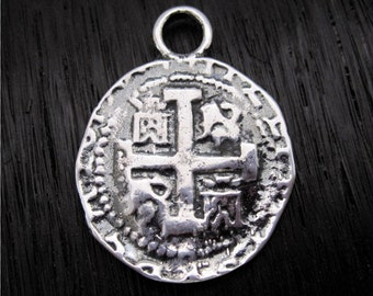 Sterling Silver Spanish Coin Replica Charm and Pendant (one)