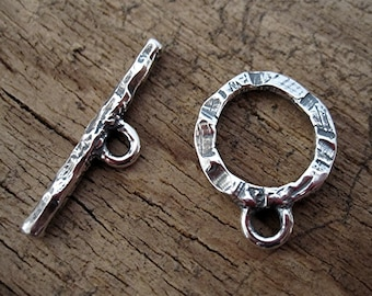 Rustic, Handmade, Textured, Sterling Silver Toggle Clasp (one clasp set) (C) (N)