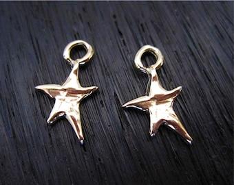 Tiny Gold Bronze Whimsical Artisan Star Charms (set of 2)