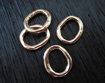 Small RED Bronze Artisan, Handmade, Round Closed Jump Rings and Links (set of 4) (N)