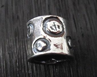 Handmade, Sterling Silver, Artisan, Polka Dot Bead and Slider (one bead) (C) (A)