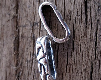 Textured, Organic, Artisan, Oblong, Sterling Silver Link (set of 2) (A)