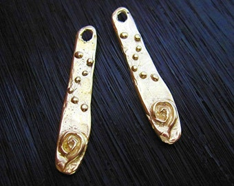 Gold Bronze Spiral Dotted Artisan Earring Charm and Earring Components (one pair)