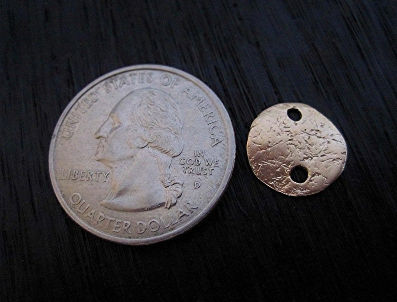 RED Bronze Rustic Textured Small Disc Jewelry Links and Connectors set of 2
