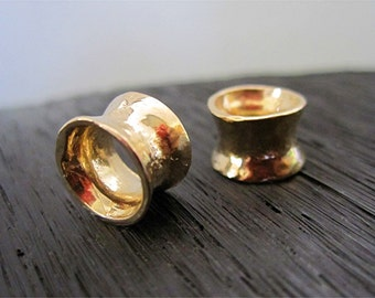 One Medium Hammered Concave Artisan Gold Bronze Bead and Slider (one)