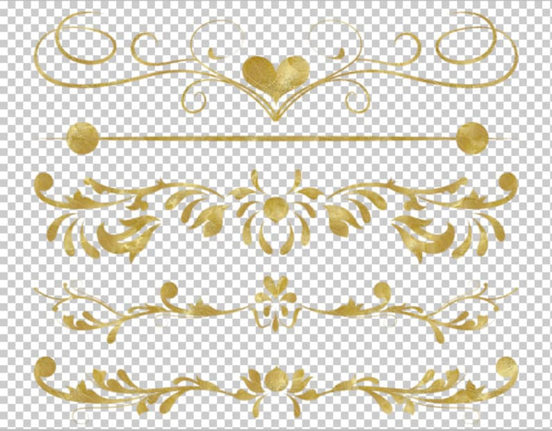 aa287a43617d Clip Art GOLD Digital Border Flourish Swirl Border Gold