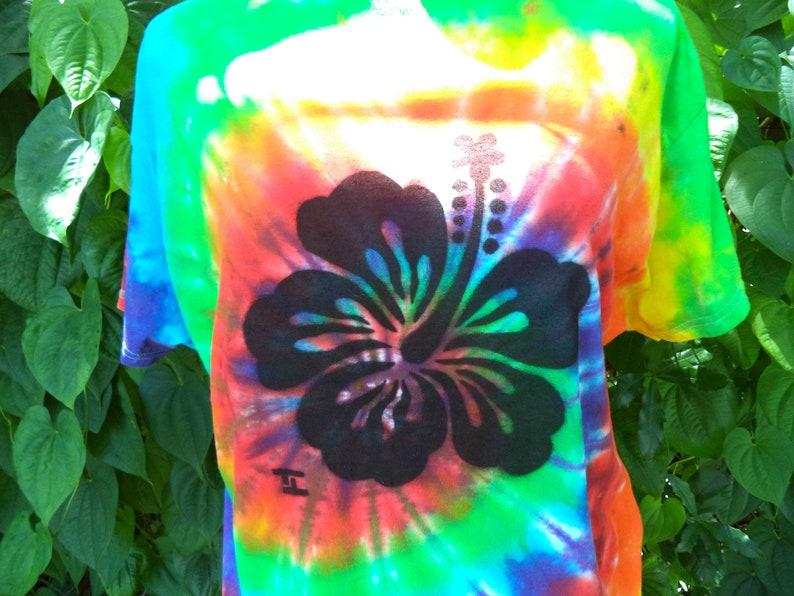 Rainbow Tie Dye With Hibiscus Flower Stencil Art Custom Tie Etsy