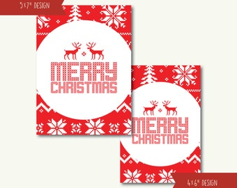 """Merry Christmas Knit Sweater Deer Holiday Christmas Art Print - INSTANT DOWNLOAD - 4""""x6"""" and 5""""x7"""""""