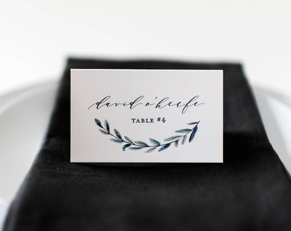 james greenery place cards / escort cards // flat or folded wedding place cards / greenery winery olive branch rustic eucalyptus