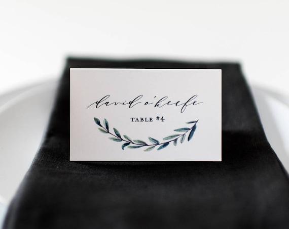 james greenery place cards / escort cards // flat or folded wedding place cards / greenery winery olive branch rustic eucalyptus