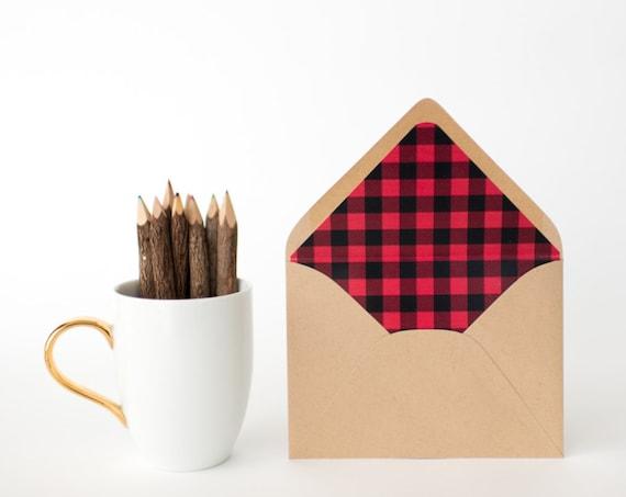 buffalo plaid lined envelopes - sets of 10  // modern envelope liners wedding shower party invitation invite