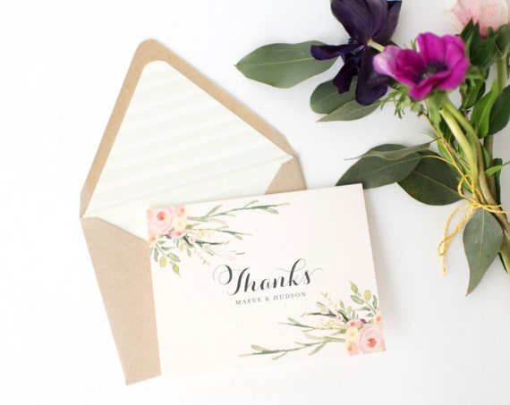 maeve wedding thank you cards // personalized thank you cards / personalized stationery / card set / watercolor floral / blush (sets of 10)