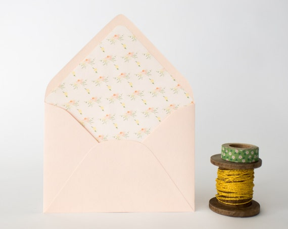 watercolor floral lined envelopes - sets of 10  // envelope liners lined envelopes modern romantic wedding shower party invitation invite