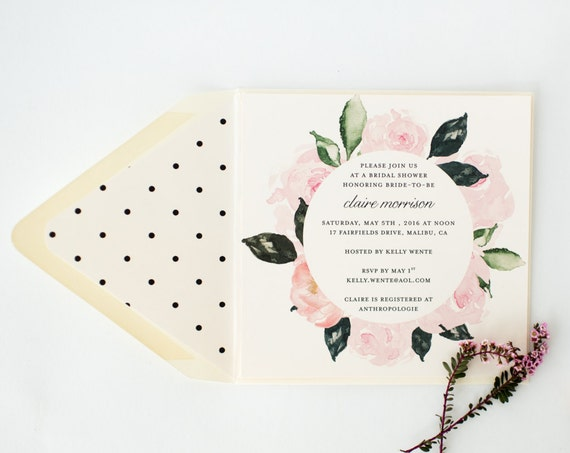 floral bridal shower / baby shower invitation  - customizable (sets of 10)  //  watercolor floral polka dot blush bridal shower invite