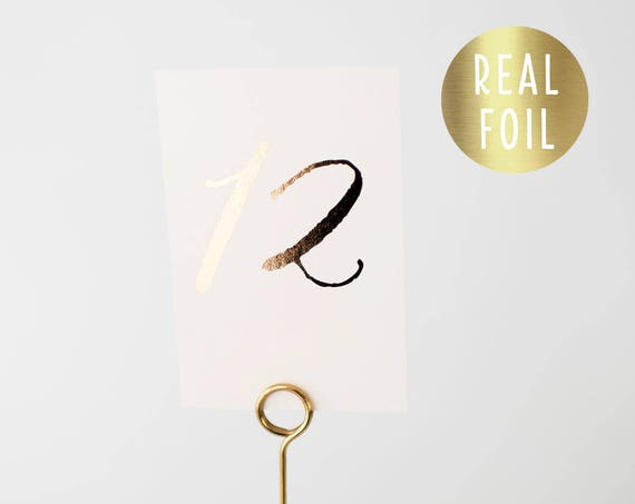 gold foil table numbers (single-sided)  //  gold foil / rose gold foil / silver foil / calligraphy modern romantic wedding table numbers