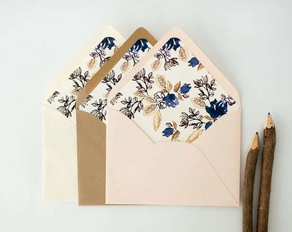blue floral lined envelopes / rustic floral envelope liners (sets of 10) // wedding envelopes / envelope liner