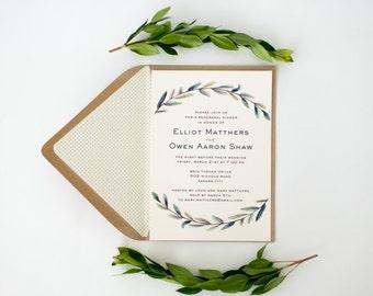 elliot greenery rehearsal dinner invitations (sets of 10)