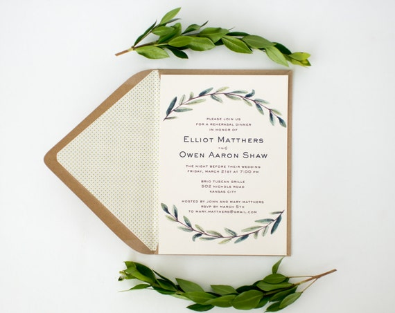 elliot greenery rehearsal dinner invitations (sets of 10)