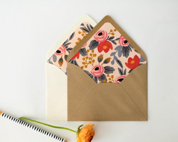 "rifle paper ""blushing rosa"" lined envelopes / floral envelope liner / envelopes for wedding invitations / wedding envelopes / envelope liner"