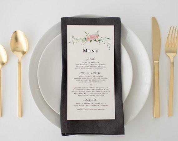 violet wedding menus (sets of 10)  // watercolor floral blush romantic calligraphy custom wedding menu