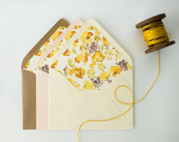yellow floral lined envelopes / watercolor floral envelope liners (sets of 10) // wedding envelopes / envelope liner