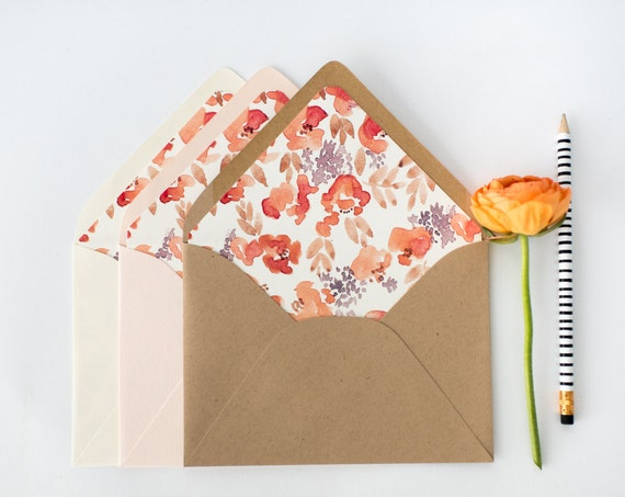 pink floral lined envelopes / watercolor floral envelope liners (sets of 10) // blush pink / wedding envelopes / envelope liner