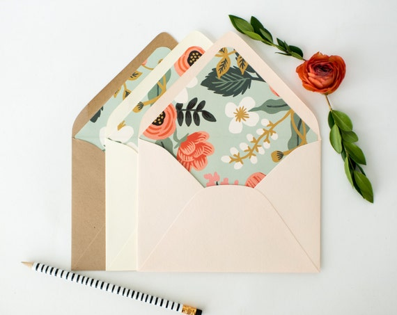 "rifle paper ""birch"" lined envelopes / envelope liners (sets of 10) // blue floral / wedding envelopes / envelope liner"