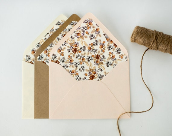 calico autumn floral lined envelopes (sets of 10) // watercolor floral fall autumn envelope liners lined envelopes wedding shower invite
