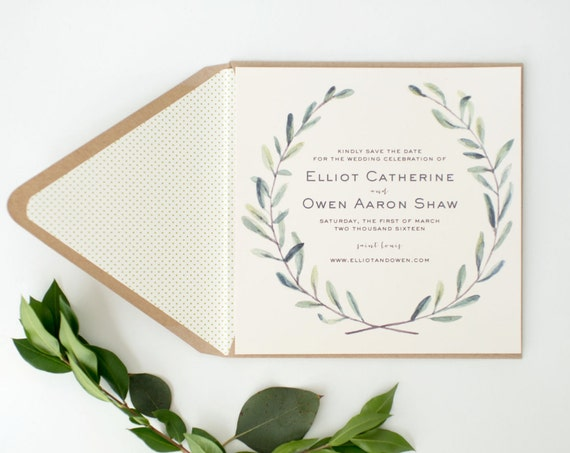 elliot greenery save the date invitations  //  printed invite / watercolor rustic eucalyptus greenery custom modern calligraphy invite