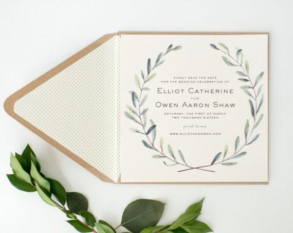 elliot greenery save the date invitations  //  printed invite / watercolor rustic eucalyptus greenery custom modern calligraphy invite
