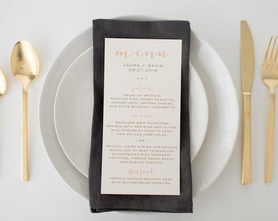 laura wedding menus (sets of 10)  // simple rustic peach blush gold custom romantic calligraphy wedding menu