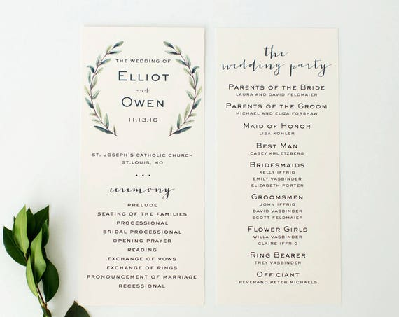 elliot greenery wedding programs  // winery olive branch watercolor rustic eucalyptus greenery modern simple calligraphy (sets of 10)