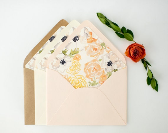 watercolor floral lined envelopes / floral envelope liners (sets of 10) // blush / wedding envelopes / envelope liner
