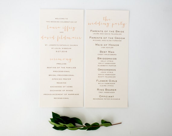 laura wedding programs (sets of 10)  // simple rustic peach blush gold custom romantic calligraphy wedding program