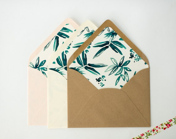 coco greenery floral lined envelopes (sets of 10)  // modern greenery rustic envelope liners lined envelopes wedding shower invitation