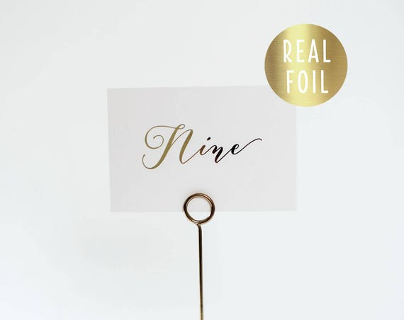 NEW!  millie gold foil table numbers (single-sided) // gold foil / rose gold foil / silver foil / calligraphy wedding table numbers