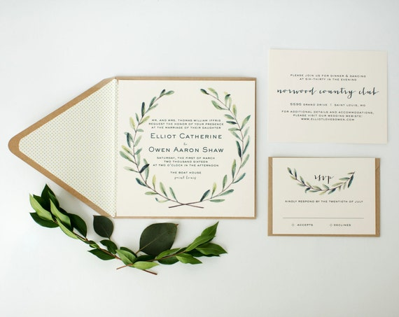 custom listing for kendall - elliot wedding invitations