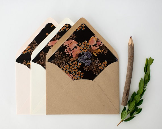 zoe floral lined envelopes / envelope liner (sets of 10)  // romantic floral black dark fall autumn winter envelope liners lined envelopes