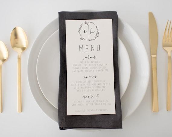 ruby wedding menus (sets of 10)  // monogram laurel wreath calligraphy neutral gray custom romantic wedding menu
