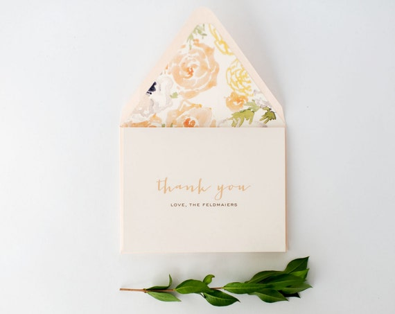 laura wedding thank you cards // personalized thank you cards / card set / blush / gold / watercolor floral (sets of 10)