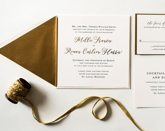 millie gold foil wedding invitation sample set // rose gold foil / silver foil / modern simple custom calligraphy romantic invite