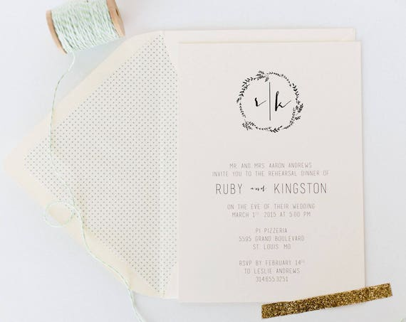 ruby rehearsal dinner invitation - laurel wreath (sets of 10)  // monogram laurel wreath calligraphy neutral gray custom romantic invite