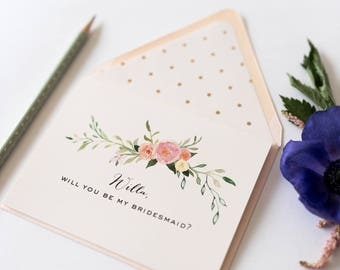 bridesmaid proposal / bridesmaid thank you card // will you be my bridesmaid card / personalized / floral / bridal party card / gold foil