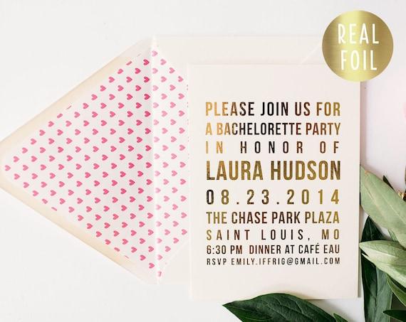 gold foil bachelorette party invitation  - customizable (sets of 10)  // gold foil heart bachelorette party weekend invite