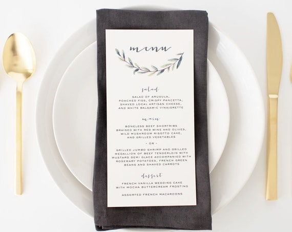 elliot greenery wedding menus  // winery olive branch watercolor rustic eucalyptus greenery custom modern calligraphy wedding menu