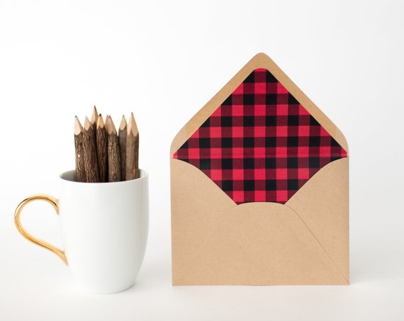 plaid lined envelopes - 12 PATTERNS (sets of 10) // buffalo plaid / madras plaid / tartan / gingham / check / glen