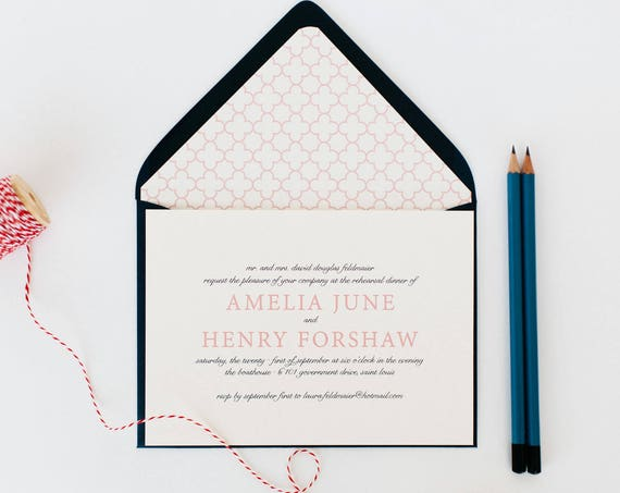 amelia rehearsal dinner invitation (sets of 10)  // classic custom pink navy geometric calligraphy romantic rehearsal dinner invite