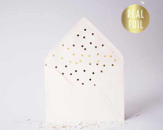 foil confetti dot lined envelopes (sets of 10) // gold foil / rose gold foil / silver foil / modern envelope liners lined envelope